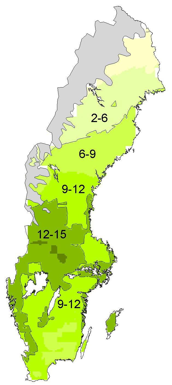 ... Sverige (Figur 5 – riksskogstaxeringens bonitetskarta över Sverige